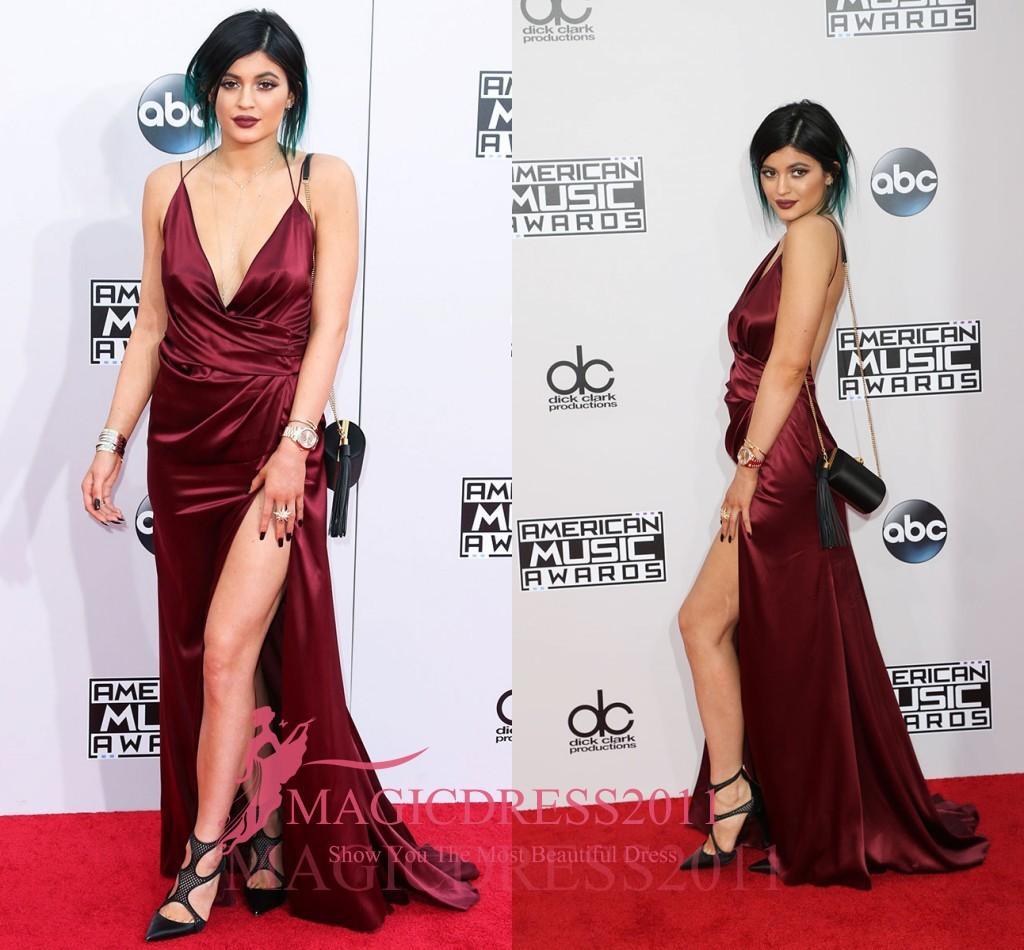Kylie Jenner 2019 Burgundy A Line Celebrity Dresses Backless Deep V-Neck High Split Prom Dresses Cheap Custom Made Evening Dresses