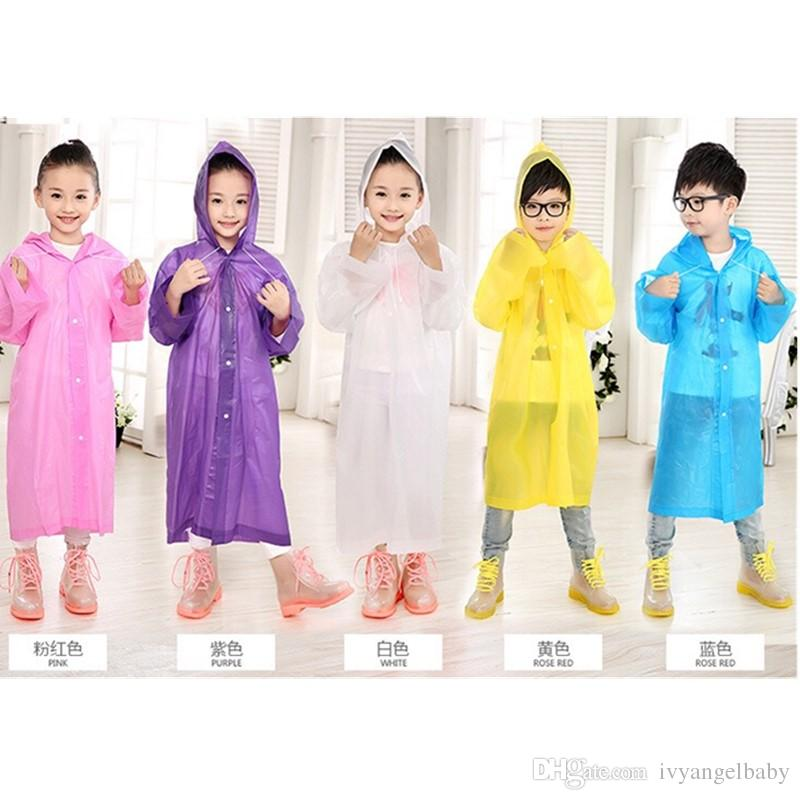 Age 6-12 Kids Hooded Jacket Rain Poncho Raincoat Cover Long Rainwear Solid  Lightweight Children s Rain Suit