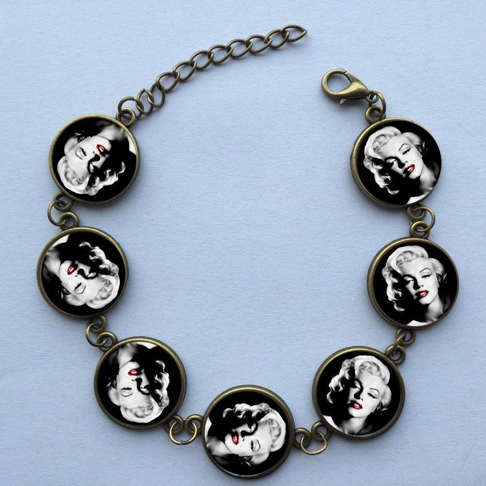 Wholesale Girls Glass Cabochon Bracelet Marilyn Monroe Bracelet Handcrafted Jewelry Glass Photo Bracelet