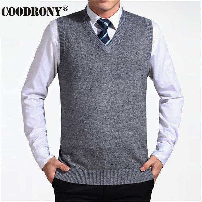 2019 Coodrony 2017 New Arrival Solid Color Sweater Vest Men Cashmere