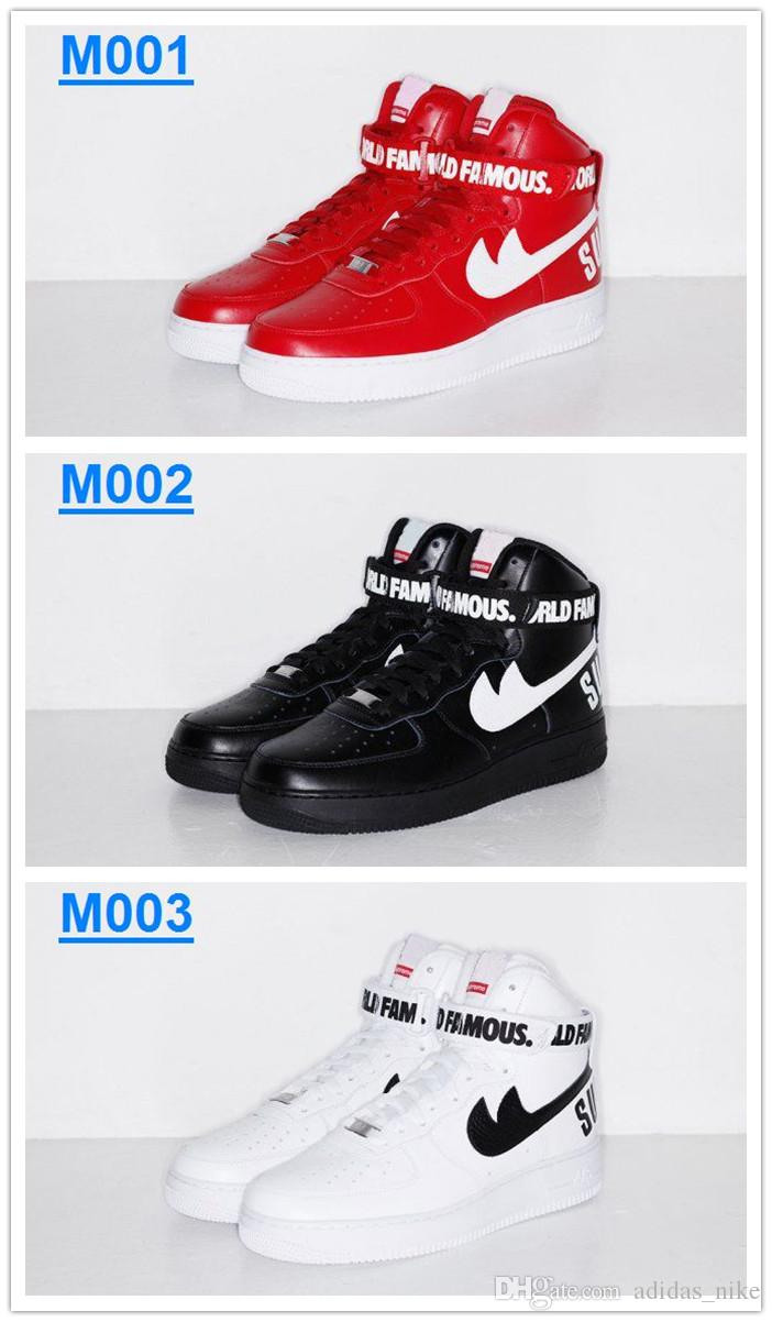Livraison gratuite 2016 New AIR FORCE 1 HIGH SUPREME Men And Women SP Skateboarding Chaussures Mode Amant AF1 High Top Sport suprême Chaussures de