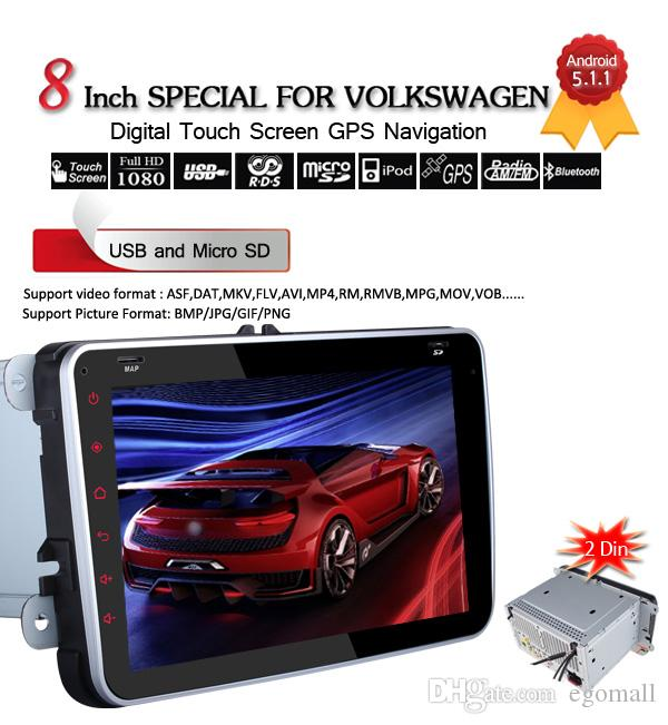Quad Core 1024*600 2 Din Android 5.1.1 VW Car DVD GPS Navi GOLF 6 Polo Bora JETTA PASSAT Tiguan