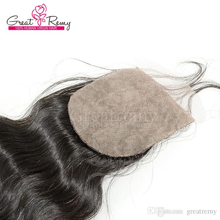 Silk base Top Closure Brazilian Unprocessed Human Hair Extensions Body Wave Silk base Closure 4*4 Hair Pieces Natural Color Dyeable