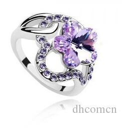 Anelli di cristallo delle donne dei petali dei fiori Colori romantici della miscela di bello stile di nuovo modo Nuovi gioielli svegli all'ingrosso della ragazza