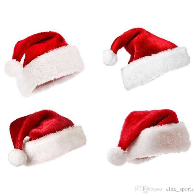 2017 New Christmas Family Hat Hat velluto Christmascap peluche Babbo Natale rosso e bianco forniture feste cappello Big Size Santa cap 40 * 26cm