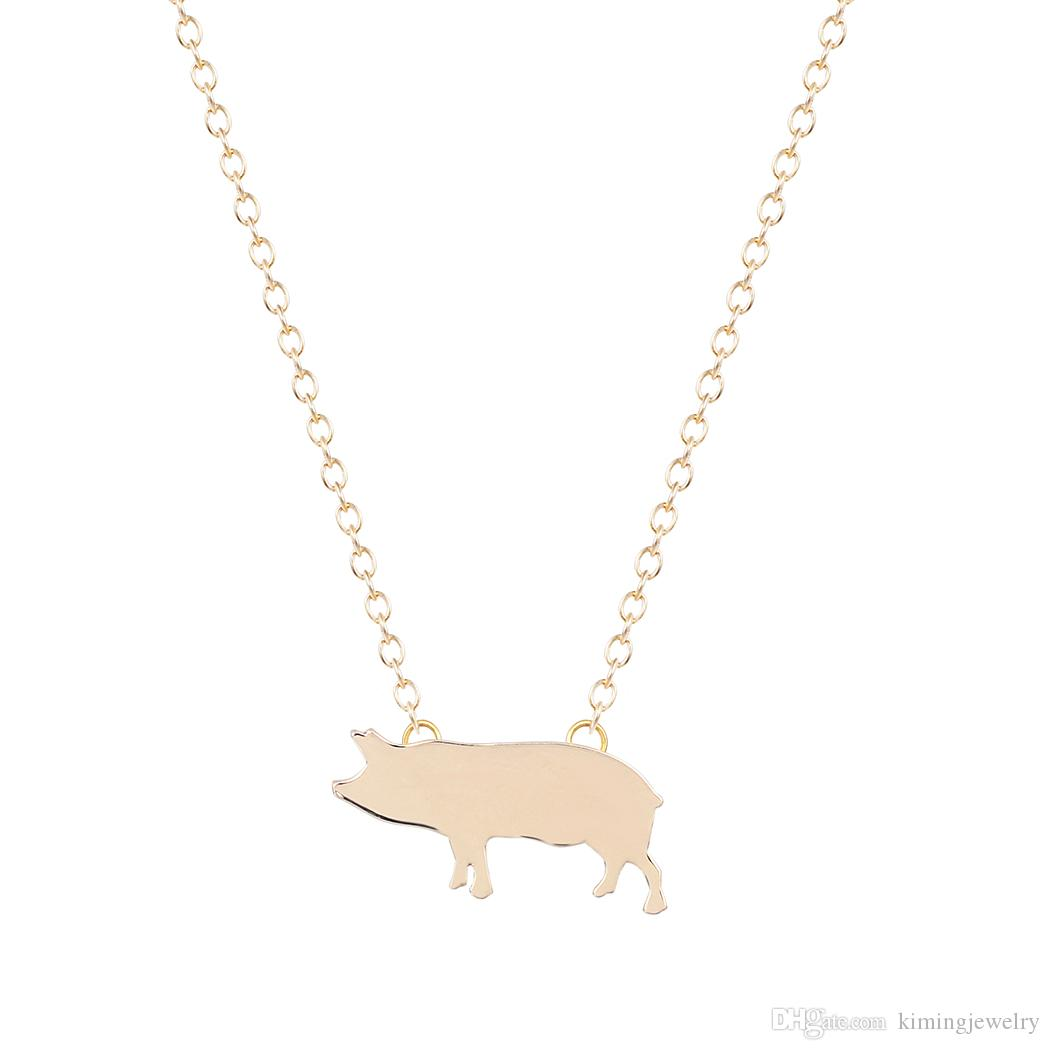 Fashion Bridesmaid Silver Gold Pig Pendant Necklace for Women Wedding Necklace Friendship Eternity