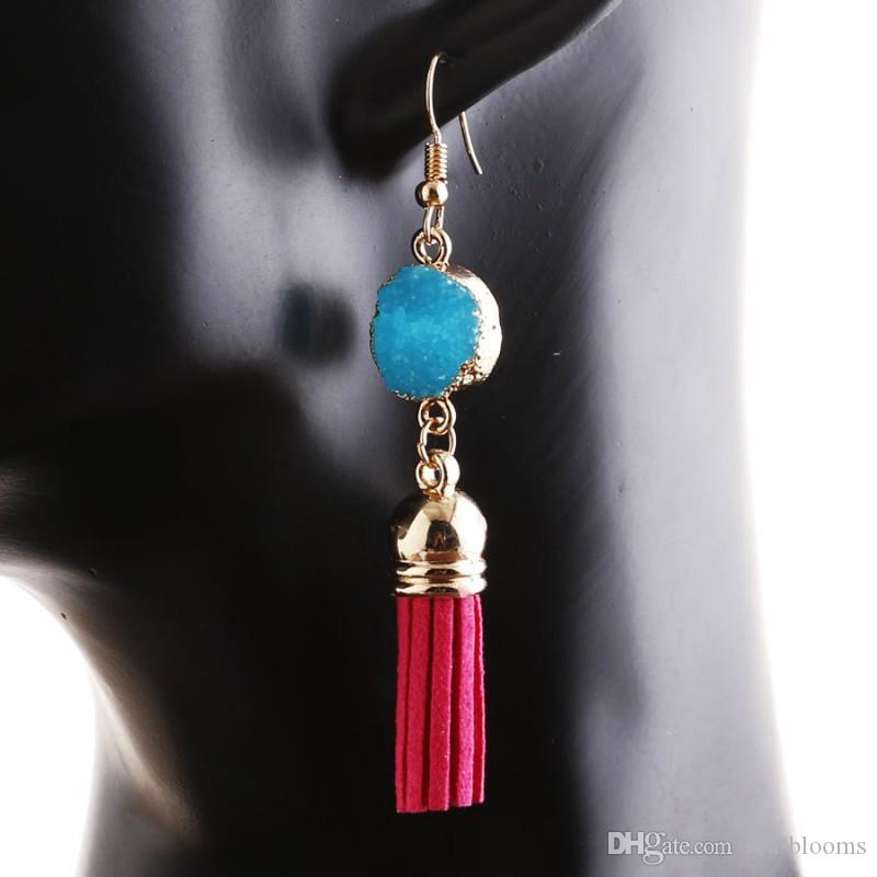 Delicat Tassel Earrings Boho Bohemian Short Charm Agate Dangling Earrings for Women Vintage Accessories Multicolor Jewelry D202S