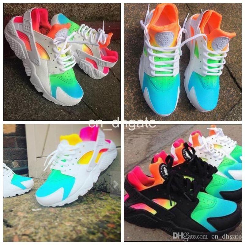 timeless design 18c98 2325b 2016 New Air Huarache Running Shoes Huaraches Rainbow Harache Ultra Breathe  Shoes Men Women Huraches Multicolor Hurache Sneakers Size 36-46