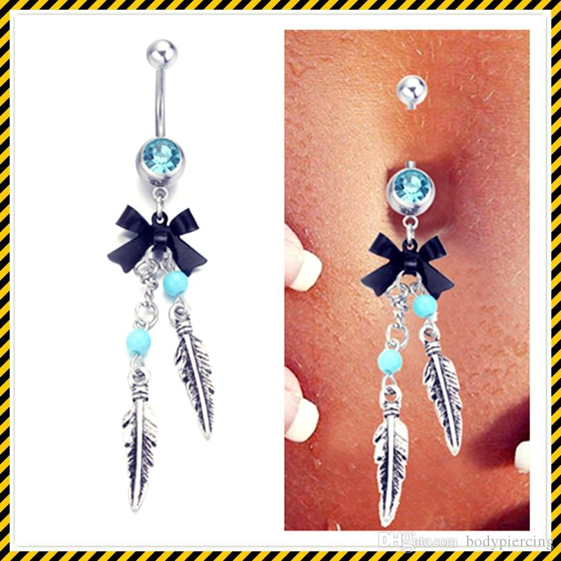 2016 HOT SALE Classic silver bow feather dangle Navel Belly Button Bar Rings Barbell Rhinestone Crystal Ball Body Piercing Jewelry