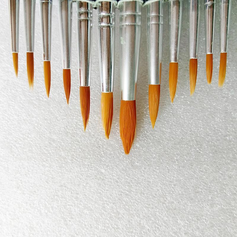 12 unidades / pacote Diferentes Tamanhos Nylon Pincel de Pintura Para Aquarela Acrílico Escovas De Pintura A Óleo Desenho Fontes de Arte