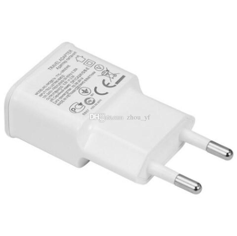 USB Wall Charger 5V 1A 5V 2A AC Travel Home Charger Adapter US EU Plug for universal smartphone android phone White Color