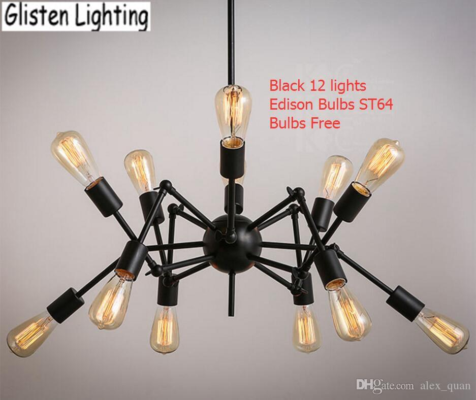 Spider Chandelier Vintage Wrought Iron Pendant Lamp Loft American Style Lighting Fixture Edison
