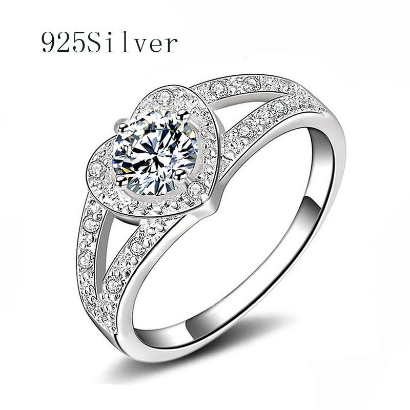 New 925 Silver Ring Love Heart Shape Diamond Jewelry White Round Brilliant Charming Rings 925 Sterling Silver Jewelry