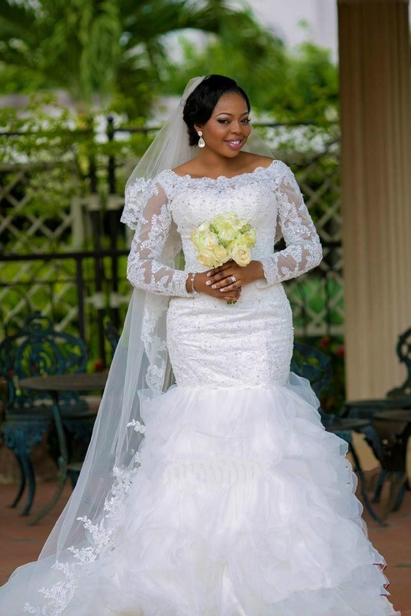 New Fashion 2016 vestido de noiva Plus Size Boat Neck Lace Long Sleeve Organza Mermaid Wedding Dresses robe de mariage Sexy Bridal Gowns