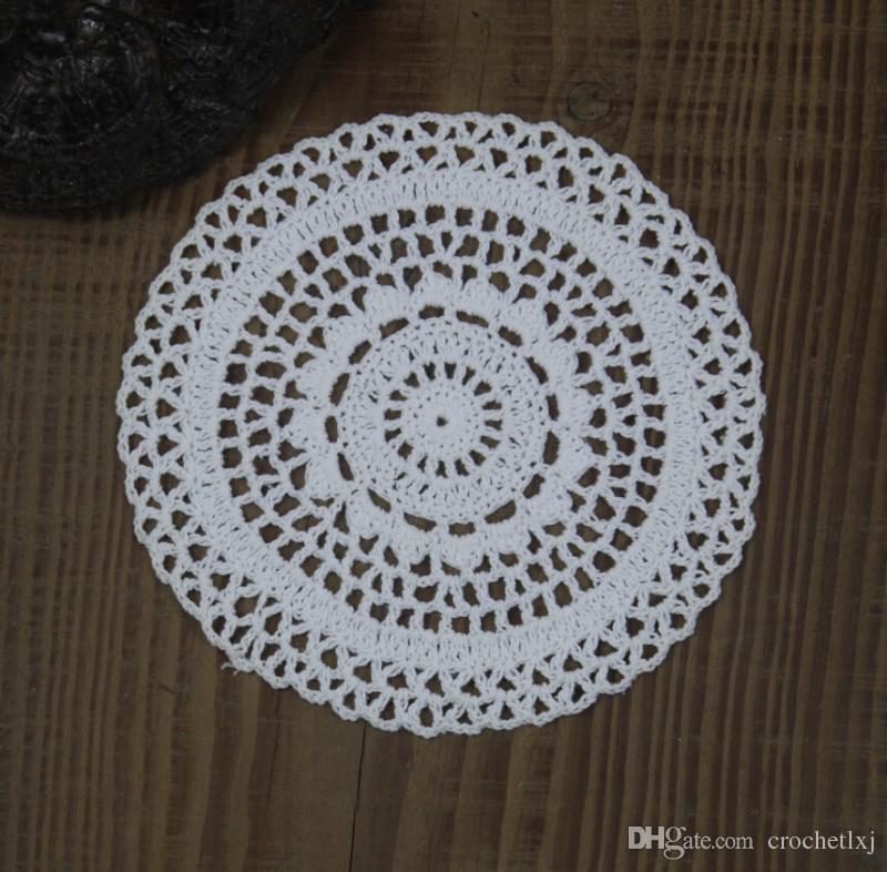 Atacado 100% algodão feito à mão crochet doily toalha de mesa 3 projetos 11 cores personalizado copo mat rodada 20-21 cm applique crochet 30 PÇS / LOTE zj003
