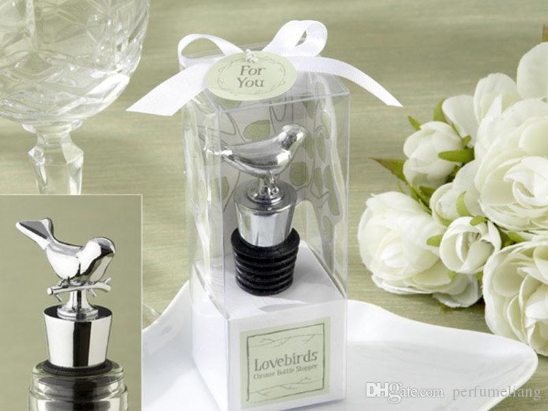 Amour oiseaux conception bouteille de vin bouchons de mariage faveurs de fête avec des boîtes-cadeaux invité cadeau pour les hommes livraison gratuite ZA4364