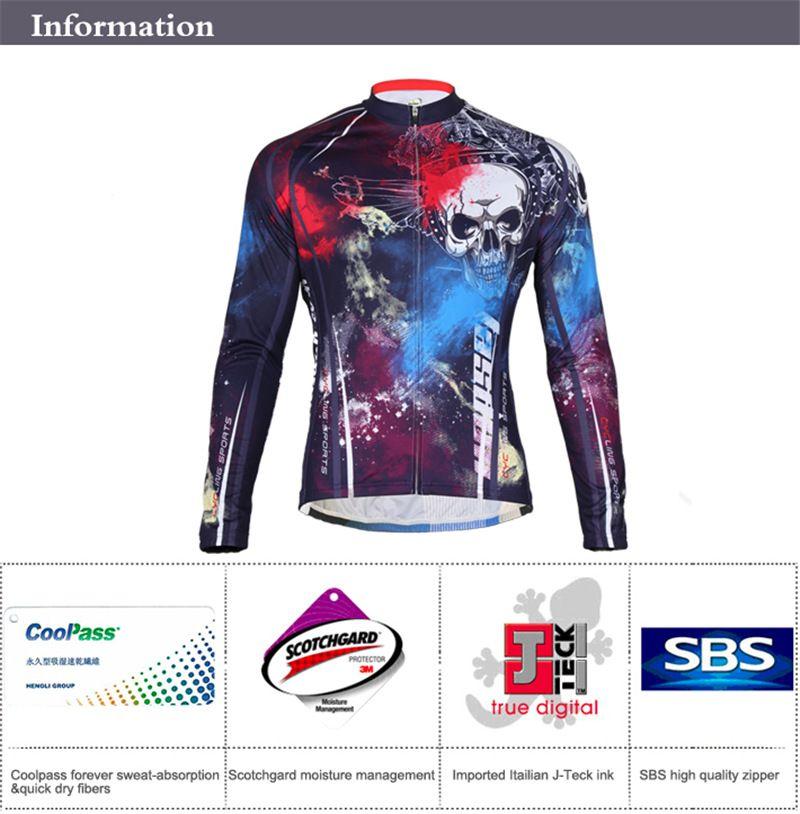 Tasdan Sportswear Mens Ciclismo Ropa de manga larga Jersey de bicicleta de montaña Wear Fashion Road Ciclismo Jersey Ropa Hombres