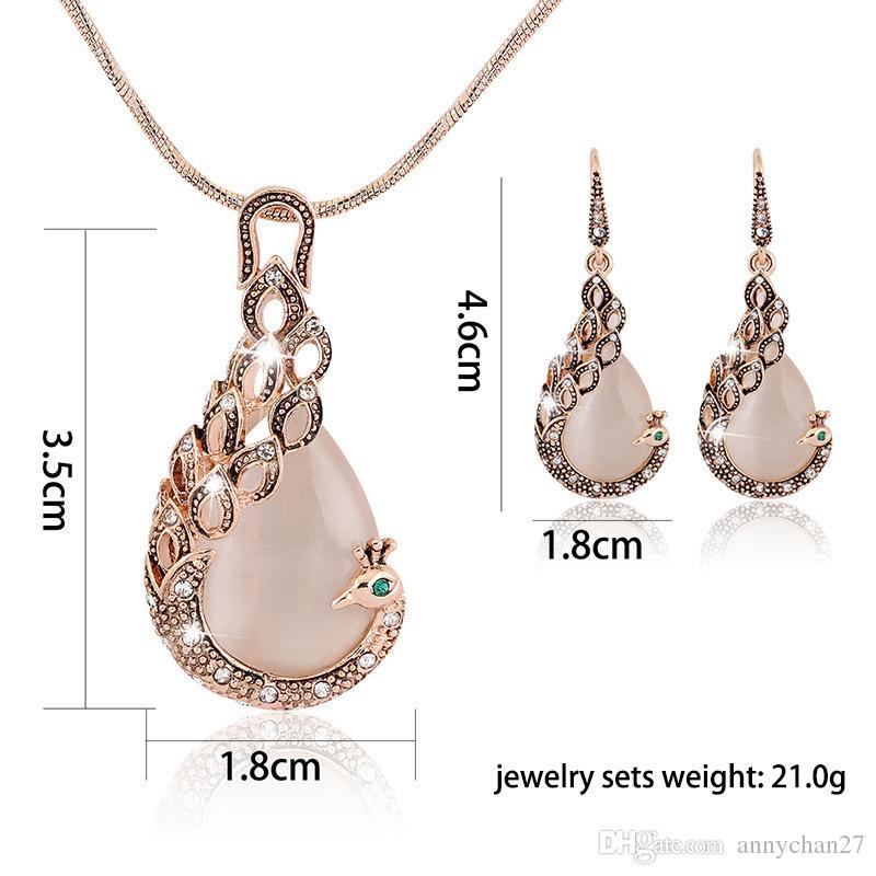 Hot Gold Peacock jewelry set necklace earrings High quality rhinestone cat eye gem fashion Wedding jewelry Set Free DHL