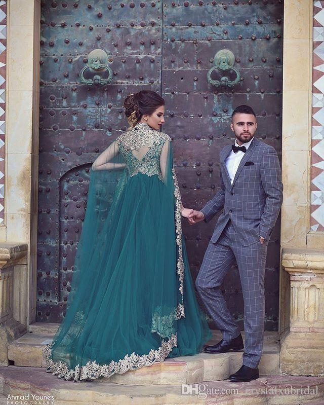 Hunter Prom Dresses economici Teal tulle con Capo V del collo Appliques del merletto in rilievo di cristallo musulmano lungo in rilievo del partito del vestito Plus Size abiti di sera