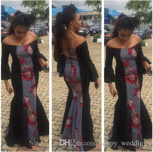 d3a9afd92e4 Women Off Shoulder Elegant Long Dress Long Sleeve High Waist Package Hip  Party Dress African Printed Dress With Back Zipper Black Ladies Dress  Ladies ...