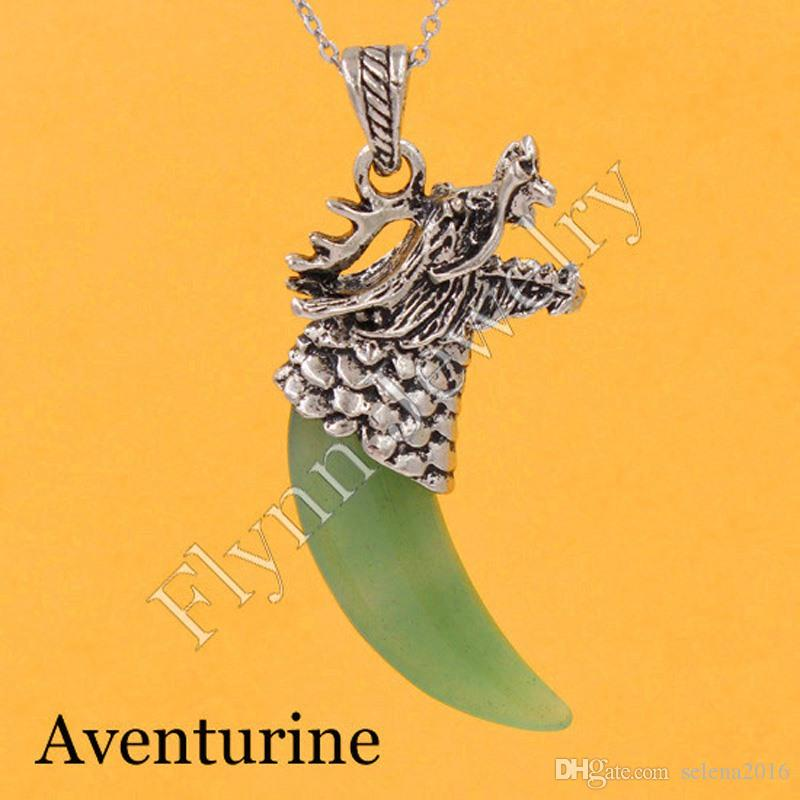 Amethyst Aventurine Various Natural Stone Vintage Dragon's Head Tooth-shape Pendant Charms Super Energy Healing Chakra Amulet