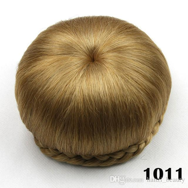 2017 Synthetic Hair Clip In Hair Brown Black Braided Chignon Donut Roller Hairpiece Hair Bun Accessories for Women