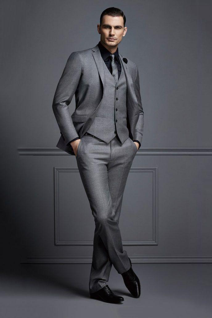 Gut aussehende dunkelgraue Herren Anzug neue Art und Weise Bräutigam Anzug Hochzeitsanzüge für beste Männer Slim Fit Bräutigam Smoking für Mann