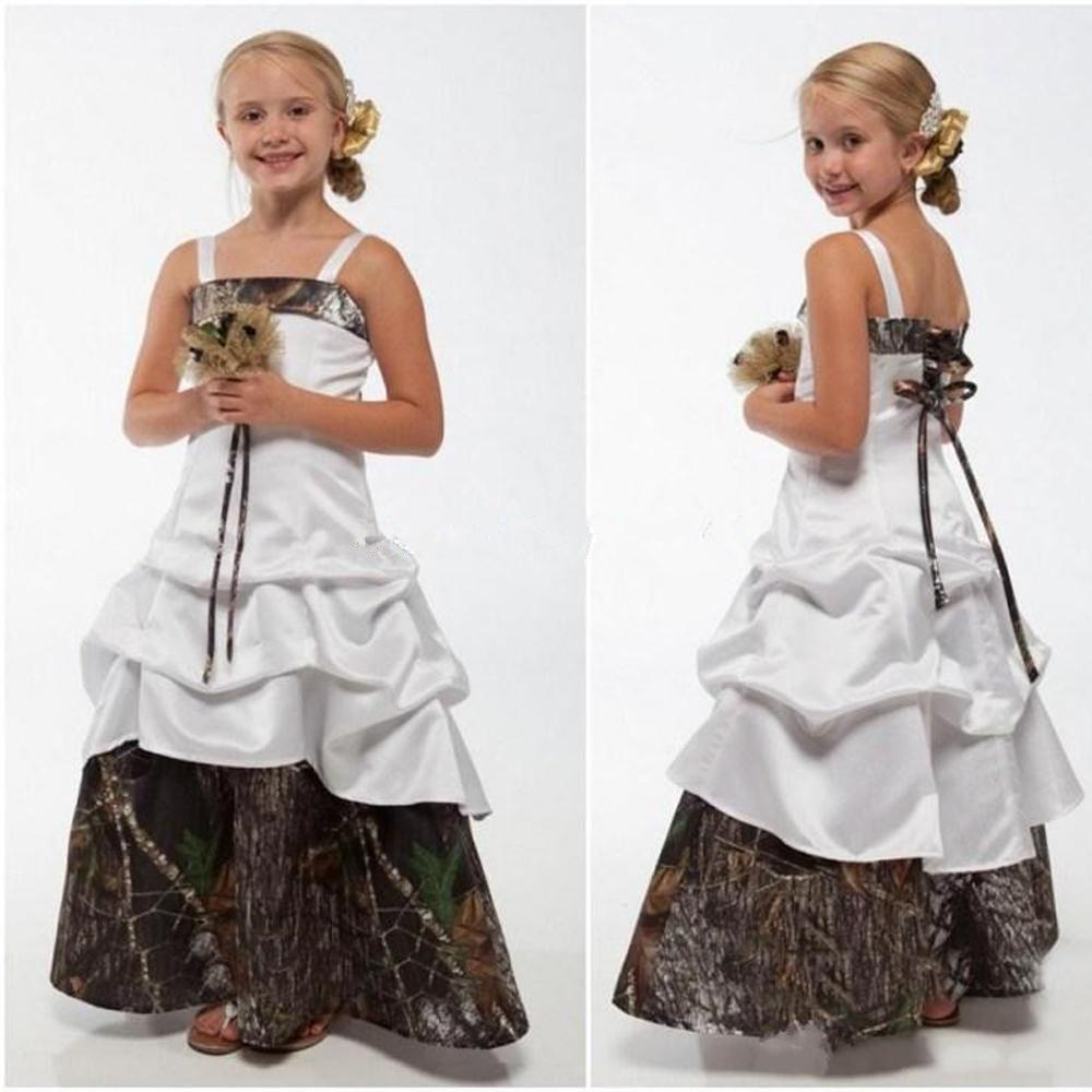 Lovely camo junior bridesmaid dresses spaghetti straps a line lovely camo junior bridesmaid dresses spaghetti straps a line satin flower girl dress floor kids country wedding little girl ball gowns discount wedding ombrellifo Image collections