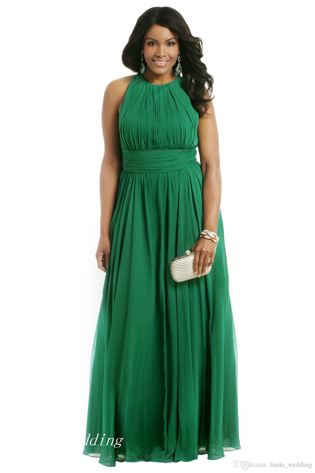 Vestido de noche formal con tallas grandes en esmeralda verde Vestido largo de fiesta de gasa de una línea Gasa Vestido de fiesta especial