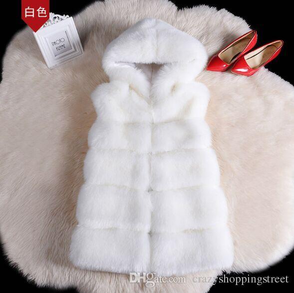 Cappotto nuovo Faux alta qualità d'argento di Fox Cappotto di pelliccia con cappuccio maglia della banda di moda a medio-lungo della maglia Large Size donne Outwear