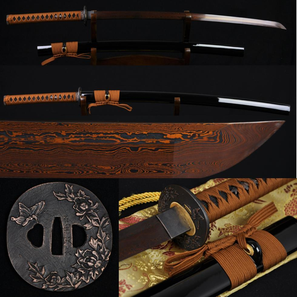 Black Red Folded Steel Full Tang Blade JAPANESE SAMURAI KATANA FUNCTIONAL SWORD