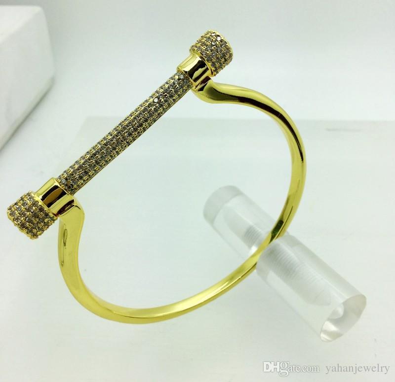 Yahan micro top gioielli di qualità pavimenta impostazione cavallo zircone rame cubico zoccolo braccialetto U braccialetto APNN vendita superiore l'accessorio bangle donna