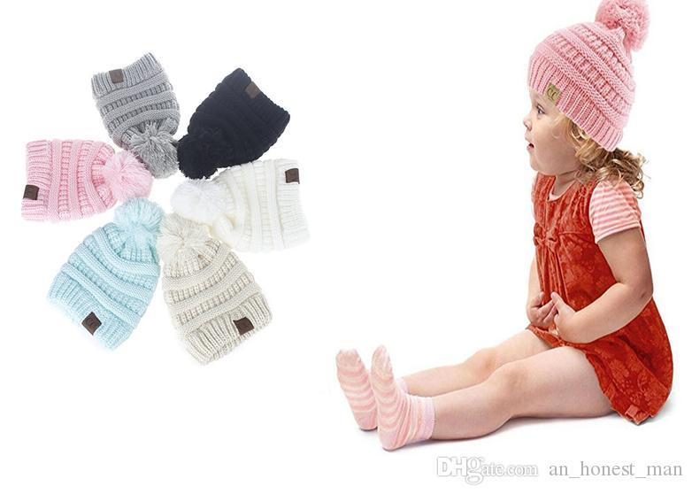 87479be1a2b Hot CC Beanie Kids Knitted Hats Kids Chunky Skull Caps Winter Cable ...