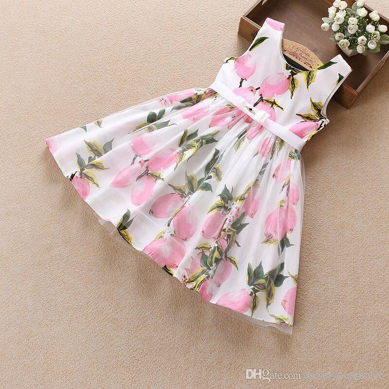 New Girl Summer Cute Girl Dress Garza in cotone senza maniche abiti floreali con una cintura bambini Princess Party Dress