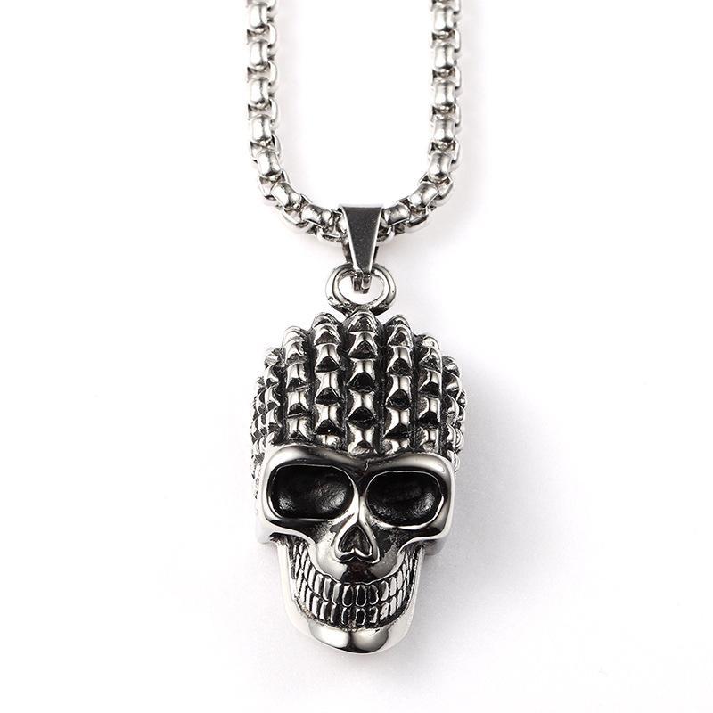 2016 Newest Titanium Steel Men Jewelry 24K Golden Plating Skull Head Pendant Necklace Punk Hip Hop HIPHOP Rap Chains Women Joyas Men Bijoux