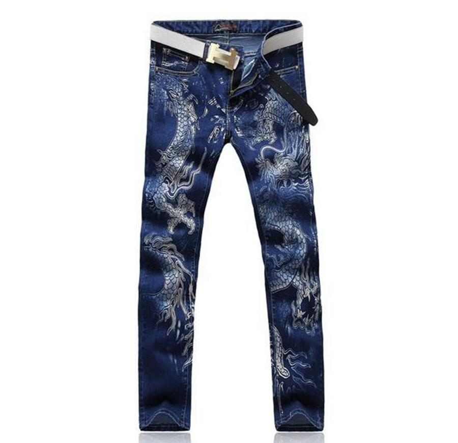 China's men's leisure fashion the new trend of cultivate one's morality personality cotton dragon printing denim trousers /28-38