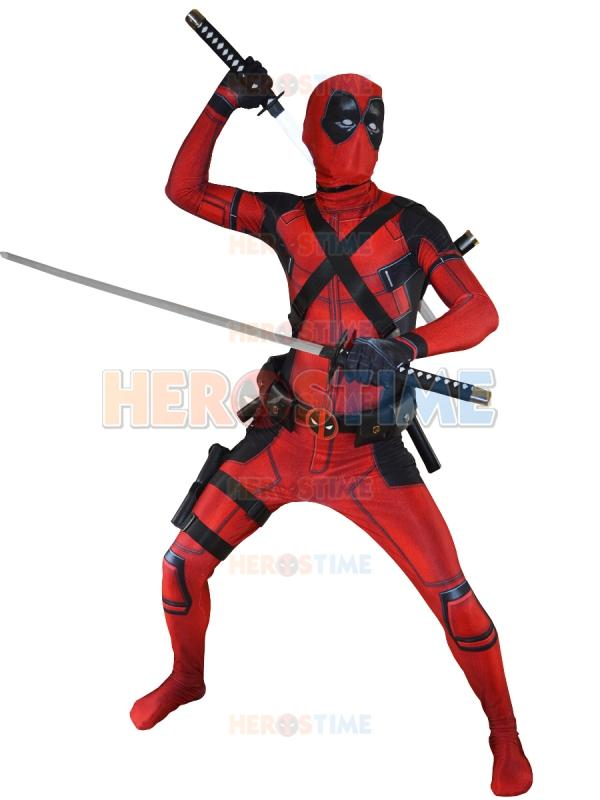 2016 Newest Red X-Force Deadpool Costume 3D Printed Halloween Cosplay Male Superhero Costume The Most Classic Zentai Suit
