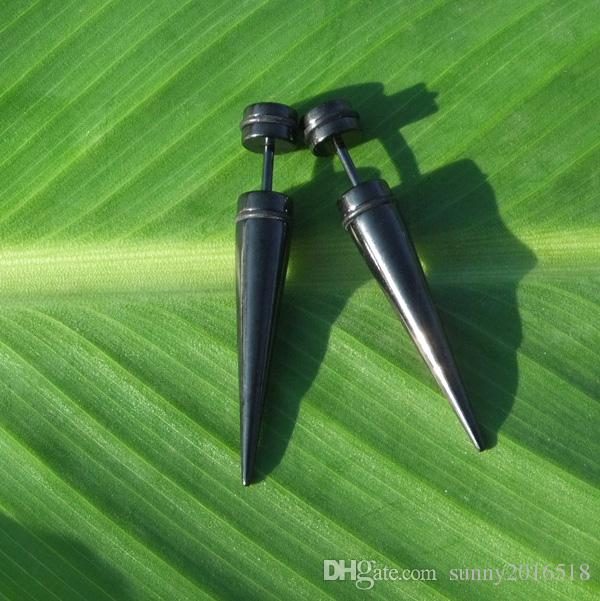 Silver Black Long Spike Cone Stud Earring Stainless Steel Earrings Piercing Jewelry Punk Style Ear Plug Stretcher