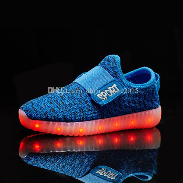 2016 Girls light up led luminous kids shoes glowing casual fashion boy with new simulation sole charge for children neon basket