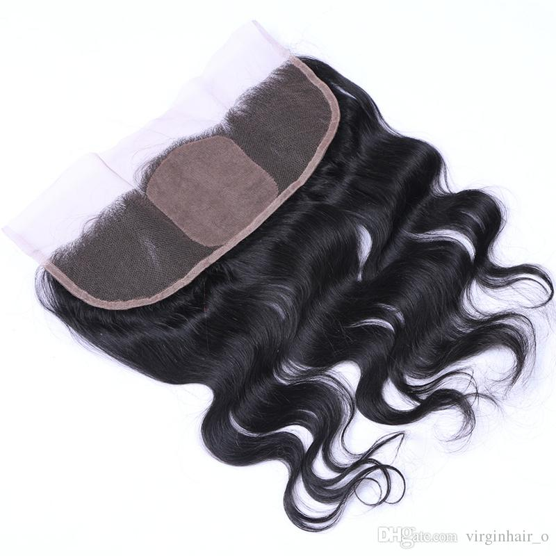 Brazilian Virgin Human Hair Body Wave 4 Bundles With Silk Base Frontal Closure Silk Top 4*4 Lace Frontal With Hair Wefts