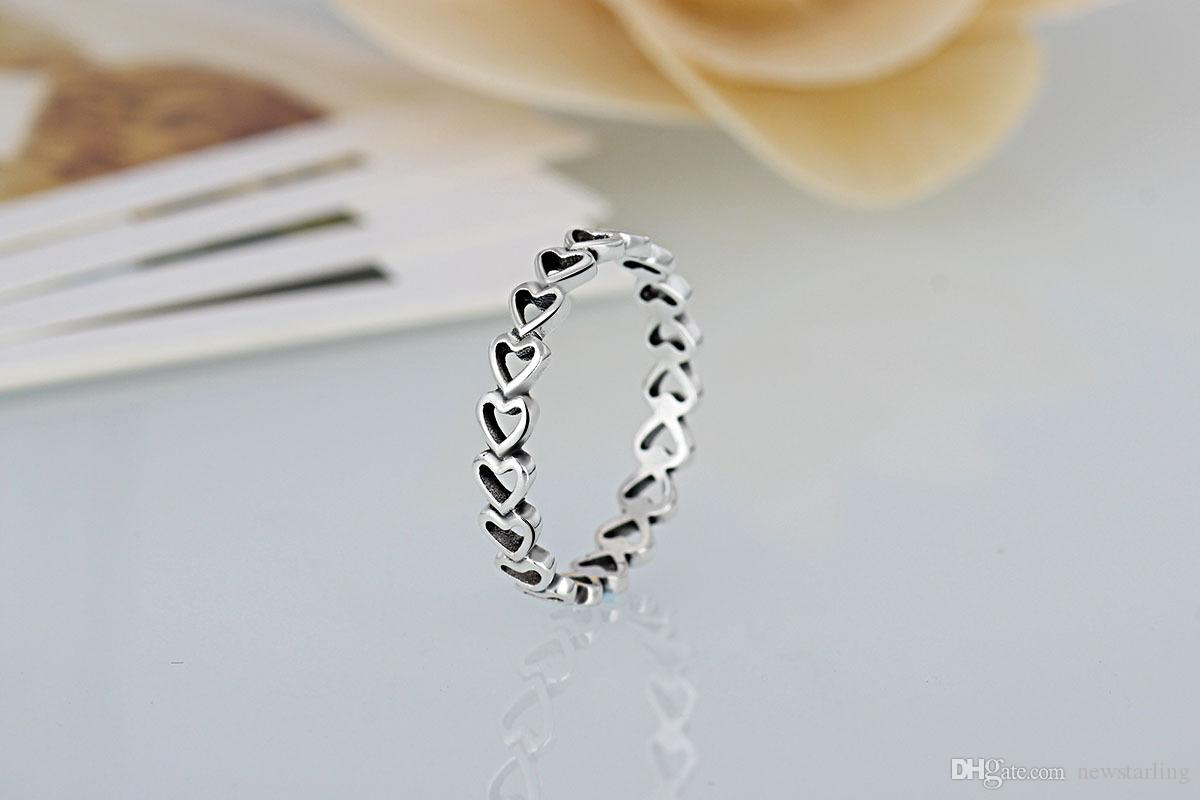 High quality 925 Silver Plated Wedding Rings Women Pandora Style Hearts With Hearts Ring For Lady Valentine 's Day Gifts Couple Rings