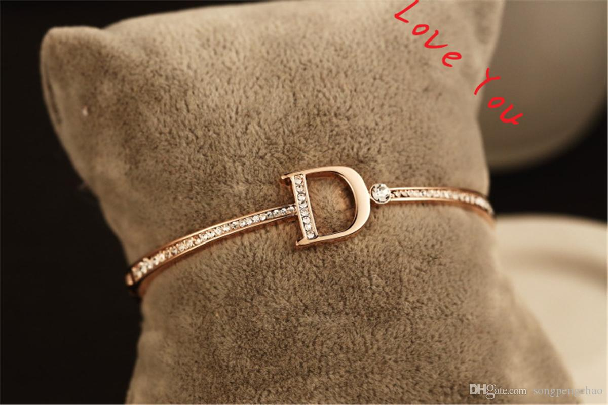 Korean Style Zircon Bracelets & Bangle for Women Gold Plated Letter D Charms Bangles Jewelry Fashion Accessories