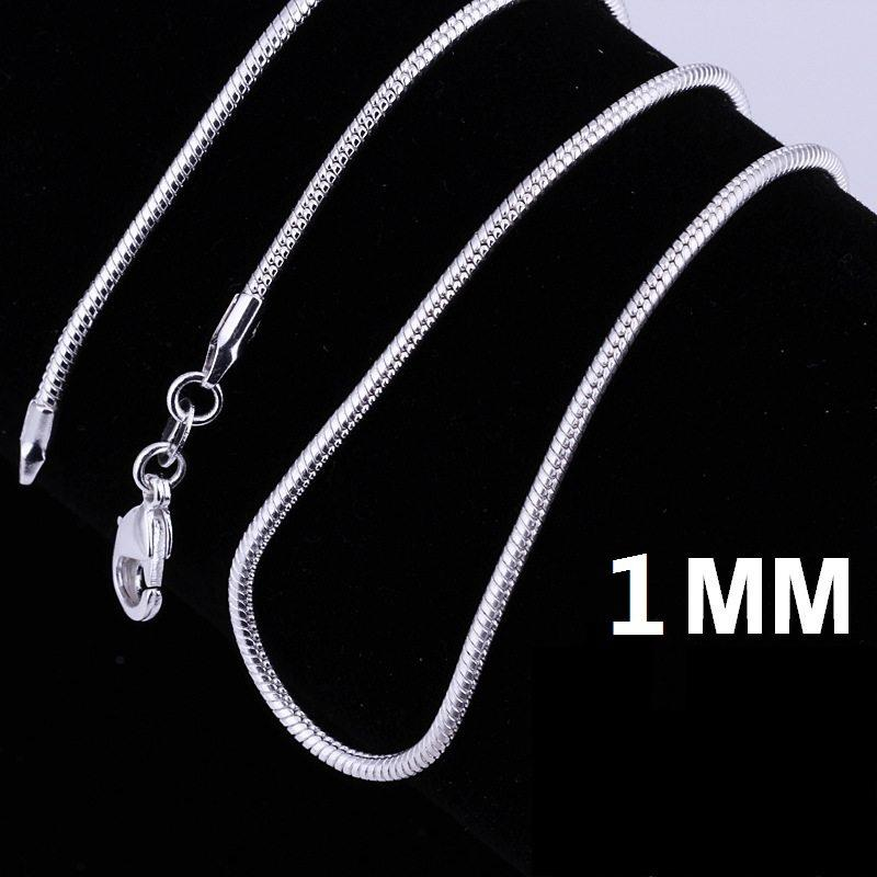 Hot 925 Stering Silver Chain Fine Jewelry 925 silver smooth snake chains Necklace 1MM mixe size 16 18 20 22 24 inch Jewellry