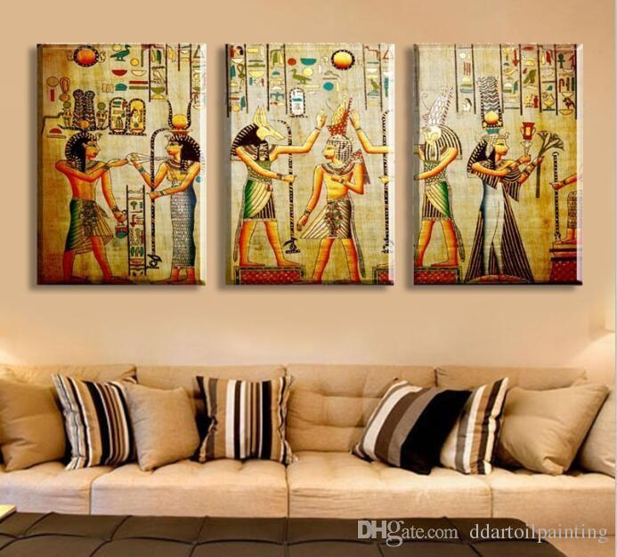 Großhandel Hd Große Gemalte Moderne Abstrakte Ölgemälde Auf Leinwand  Ägyptischen Pharao Portrait Wandkunst Für Wohnzimmer Dekor Geschenk Bild  Von ...
