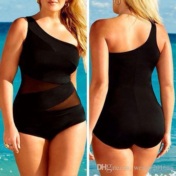 Varejo / lote 2016 Novas mulheres sexy preto Único Ombro swimwear one piece Bikini swimsuit set Plus Size XL, XXL, XXXL