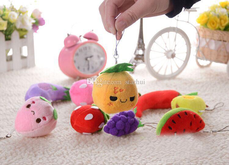 Frutta portachiavi 6-13cm disegni peluche ciondolo giocattoli di bambini bambini squeaker squeaker auto cellulare sacchetto portachiavi regali Xmas regali WX-T63