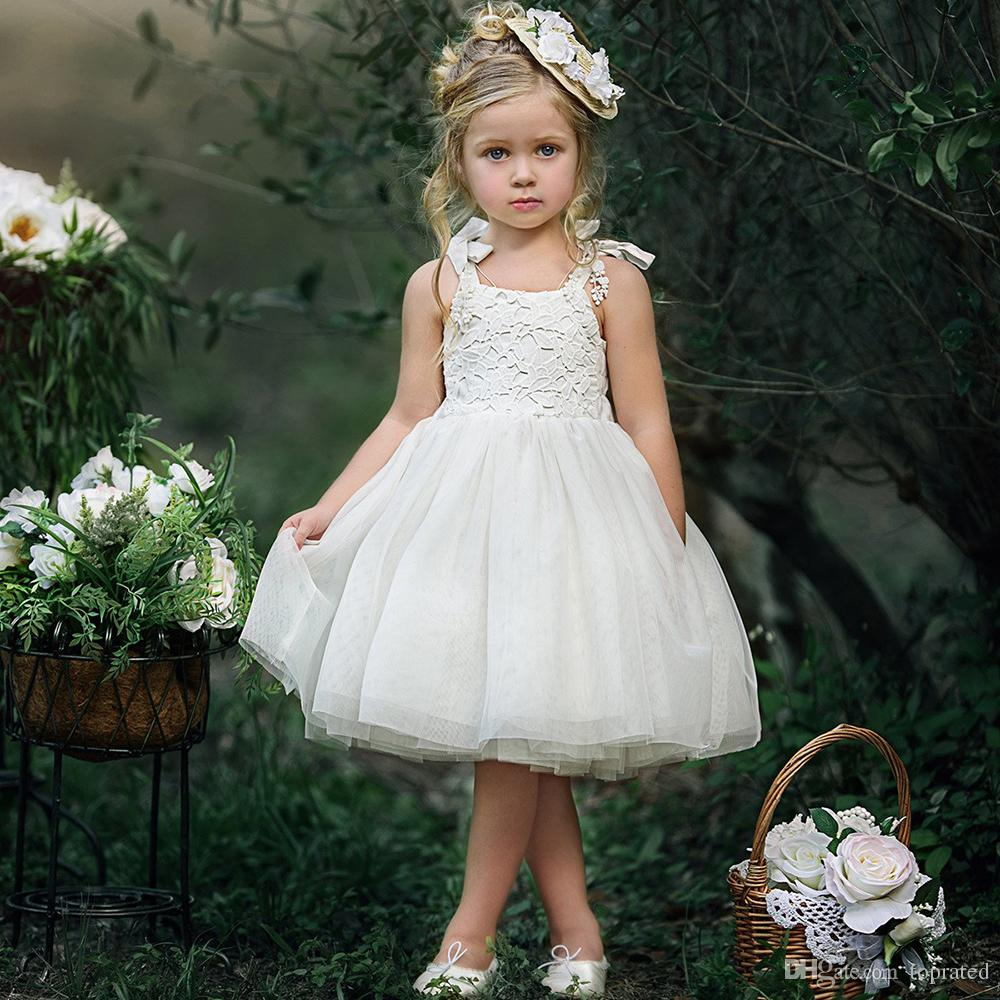 6f3407142e86a 2018 Lace Flower Girl Dresses For Summer Garden Weddings Knee Length  Spaghetti Straps Ivory Kids Formal Wears Girls Birthday Pageant Dresses  Girls Formal ...
