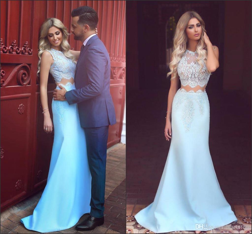 Light Sky Blue Prom Dresses 2018 New Lace Top Jewel Neck Satin Skirt