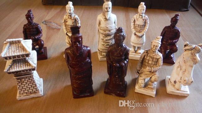Novo jogo de xadrez chinês guerreiros de terracota 32 peças - tamanho grande apenas xadrez