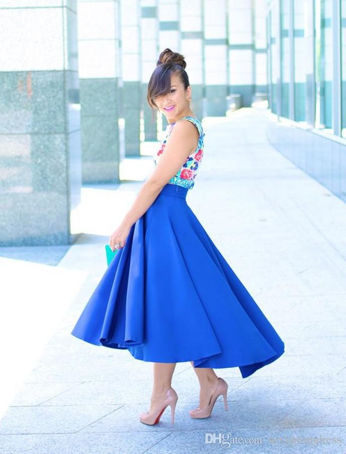 Graceful Royal Blue High Low Skirt 2017 New Fashion Satin Ruffles Women Skirt Custom Made Cheap Party Skirts